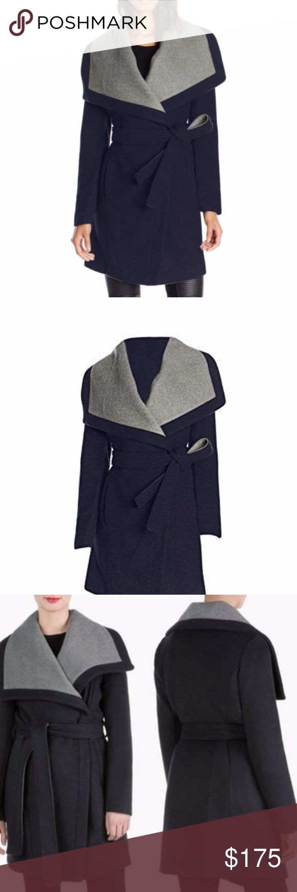 """BCBGeneration Wool Coat Size Large Navy & Grey Brand New with Tags! Navy and Grey Will keep you warm :) Asymmetrical zipper closures at front Wing collar Pleated back at hem Hits below knee, at approximately 40"""" long. Belted Materials: Grey: wool/polyester blend BCBGeneration Jackets & Coats"""