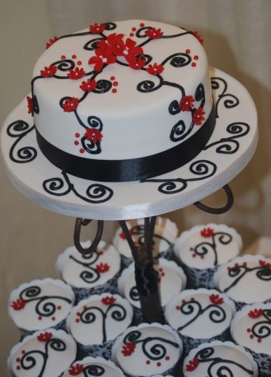 Modern Black and Red Swirl Cutting Cake with Cupcakes