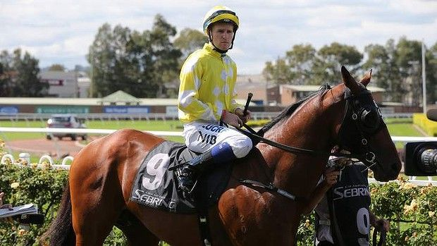 """Jockey Tommy Berry on Bullpoint before the start of race 3 at Rosehill Gardens, riding two days after the death of his twin brother. - Saturday5/4/14 - """"Nathan your passing has left a hole in my heart that can never be replaced,"""" Tommy tweeted on Thursday. """"I will love you and miss you till the day I join you in heaven."""" Read more: http://www.smh.com.au/sport/horseracing/nathan-berry-will-be-riding-on-every-golden-slipper-jockeys-shoulder-20140404-zqqu7.html#ixzz2y4fVsNew"""