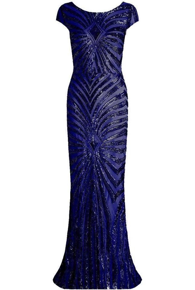 64836008fe82 Lucy Wang navy blå paillet kjole med kort ærme