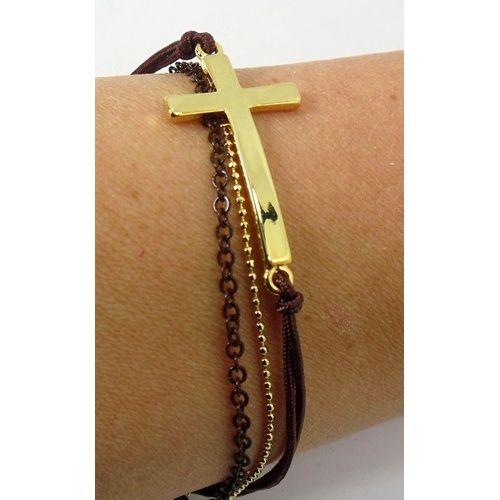 Multi-Strand Bracelet, Gold/Brown, with Crosses.  #gndgems #bracelet #cross #religious