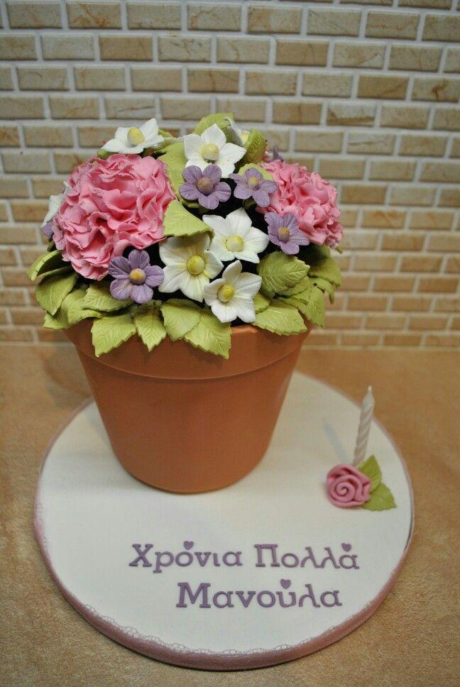 Flowerpot cake for mommy's birthday