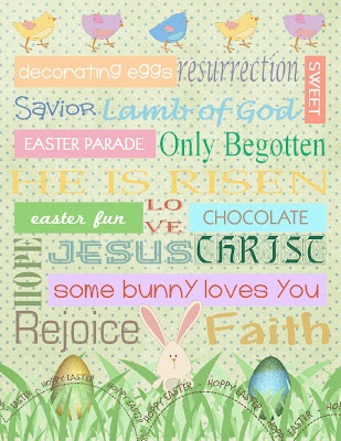 Cute Easter Art!  LOVE it!  It includes all the cutesy Easter stuff and the TRUE meaning!