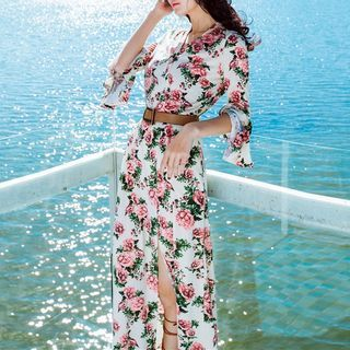 Buy MUSI Long-Sleeve Floral Chiffon Maxi Sundress at YesStyle.com! Quality products at remarkable prices. FREE WORLDWIDE SHIPPING on orders over CA$ 45.