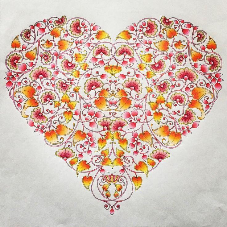 No.13 (160421) ハート(^-^)/ #大人の塗り絵 #コロリアージュ #coloriage #アートセラピー #arttherapie #無心になれる #ひみつの花園 #ストレス解消 #大人女子 #指痛い #グラデーション #gradation #色鉛筆 #coloredpencil #coloringbook #colorful #secretgarden #ジョハンナバスフォード #アンチストレス #大人の癒し #TOMBOW #カラーコーディネーター検定