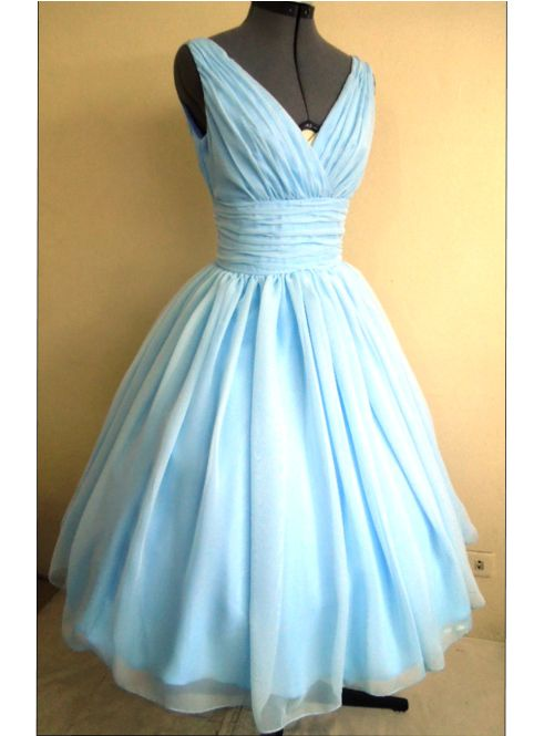Sky blue dress made from chiffon with a v cut neckline and for Sky blue wedding guest dresses