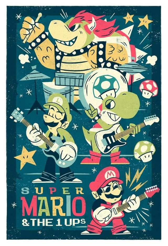 Super Mario The 1 Ups Created By Bobby O Herlihy Mario Fan Art Super Mario Art Mario Art