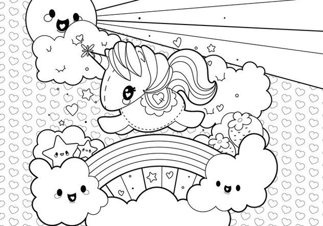 Cute Unicorn Clouds And Rainbow Coloring Page See The Category To