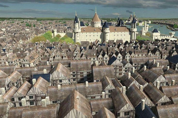 A partir du XIVe siècle, l'extension des quartiers replace le Louvre à l'intérieur de la ville. Sous Charles V, une nouvelle enceinte plus large est construite et l'édifice abandonne son rôle défensif pour profiter de nombreux embellissements, gommant peu à peu la rusticité militaire: ouvertures de fenêtres dans la muraille du donjon, toits d'ardoises ouvragés, ornementations diverses, jardin à l'ouest… Crédits photo : Dassault Systèmes
