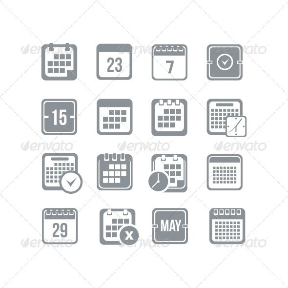 Calendar Icon Set — JPG Image #page #day calendar • Available here → https://graphicriver.net/item/calendar-icon-set/5876370?ref=pxcr