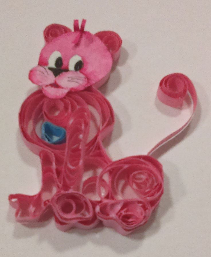 "Quilled Critter #39 - Pink Panther - 3 1/4 "" tall - $5.00 plus shipping"