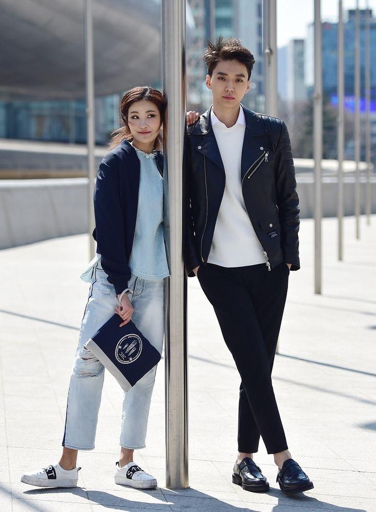 Street style: Jeon Min Wook and Kim Hyun Jin at Seoul Fashion Week Fall 2015 shot by Baek Seung Won