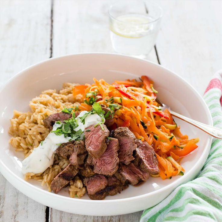 Spiced Lamb Rump Steaks with Pilaf and Carrot Salad
