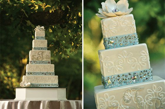 Love the sparkle and the sugar flowers.