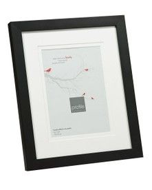 Modern narrow flat black timber picture frame with a smooth matt black finish