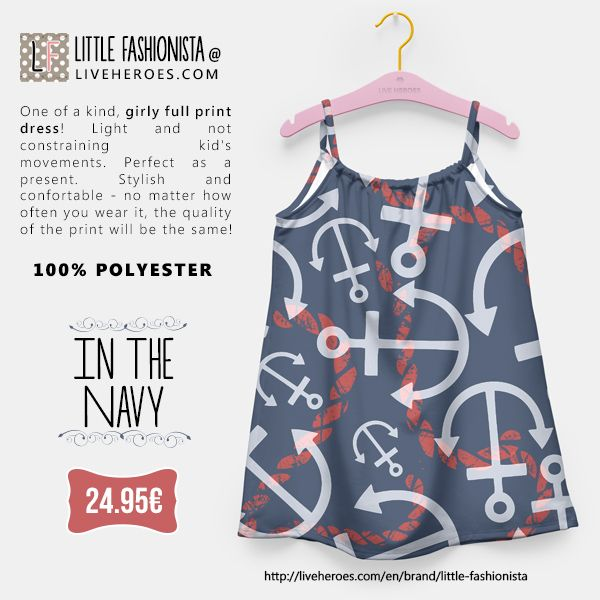#navy #nautical #yacht #sailing #boat #anchor #ropes #nautic #preppy #ocean #stylish #hipster #girldress #dress #liveheroes #liveheroesshop #littlefashionista