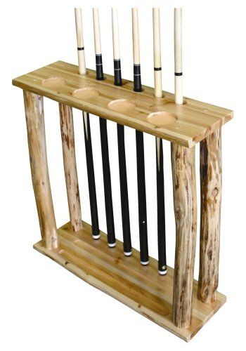 Rush Creek Log Cabin Style 6-Cue Floor Rack by Rush Creek. $59.99. This pool cue stand not only stores 6 cues, but the lower level accommodates a full set of balls. There are also four built-in drink holders to hold your beverage of choice.