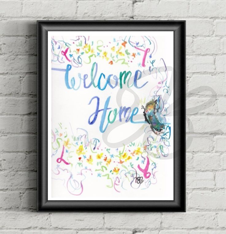 Welcome Home Sign,  Watercolor, Handmade, Motivational, Welcome, Welcome Home, Flowers, Butterfly, Welcome Home Banner, Canvas, Print, Panel by AStolenLove on Etsy
