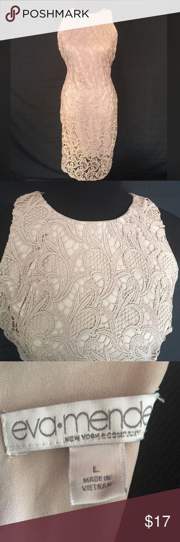 Eva Mendes Lace Dress Almost new , Eva Mendes Tan Lace Dress. Size Large. Beautiful lace details. New York & Company Dresses Midi