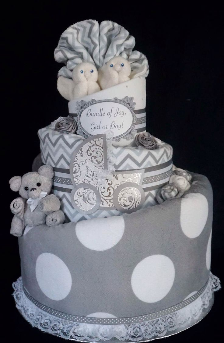 Gender Neutral Diaper Cake in Grey and White www.facebook.com/DiaperCakesbyDiana