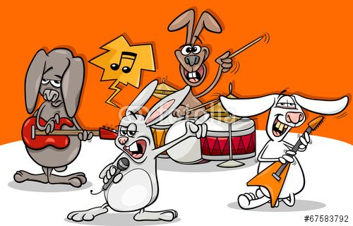 Vector: rabbits rock music band cartoon