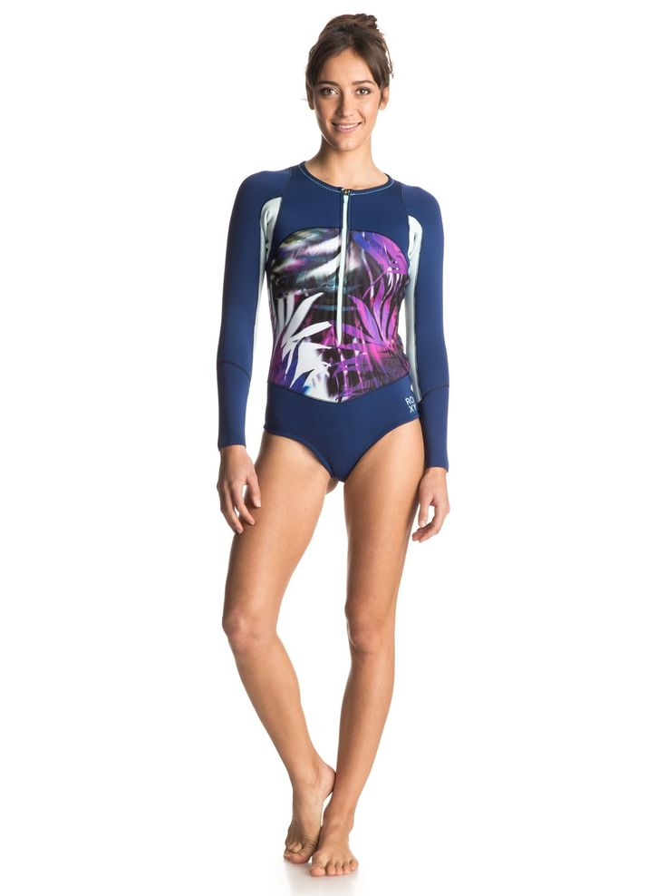roxy, Caribbean Sunset Bikini Cut Front Zip Springsuit, SEA SALT JUNGLE TIMES (wbb6)