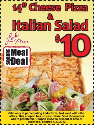 """Ledo Pizza Square Meal Deal - 14"""" Cheese Pizza & Italian Salad for only $10"""