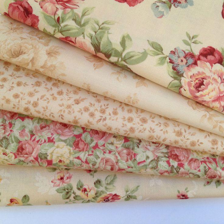 MODA 5 fat quarter bundle Chocolate & Roses CREAM 100%  cotton fabric patchwork  #Moda