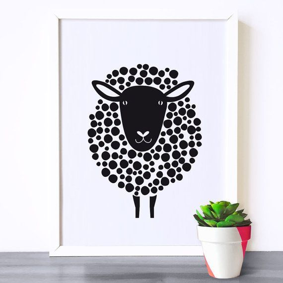 Nursery art, Kids room art print, monochrome print, black and white nursery poster, sheep print, kids room poster