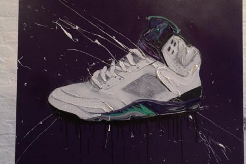 The man who is the pioneer of sneaker art, Dave White, has released a couple of new Air Jordan inspired pieces- the #Jordan Grape V. #Poster #kickzart