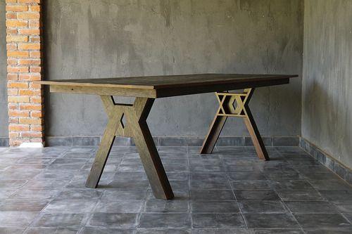 blaxsand - reclaimed iron wood x frame leg table  fsc certified timber from old boardwalk in borneo