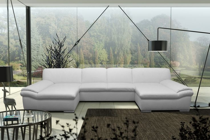 Dreams4Home Polsterecke U-Form Mike, XXL Big Sofa Ecksofa Couch wahlw. Schlaffunktion Kunstleder Wohnlandschaft, weiß Möbel Sofas & Couches Ecksofas & Eckcouches