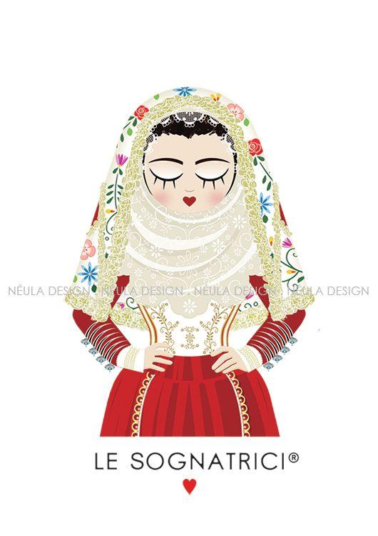 Le Sognatrici - Abito tradizionale Osilo - Traditional dress Sardinia - Illustration - design -