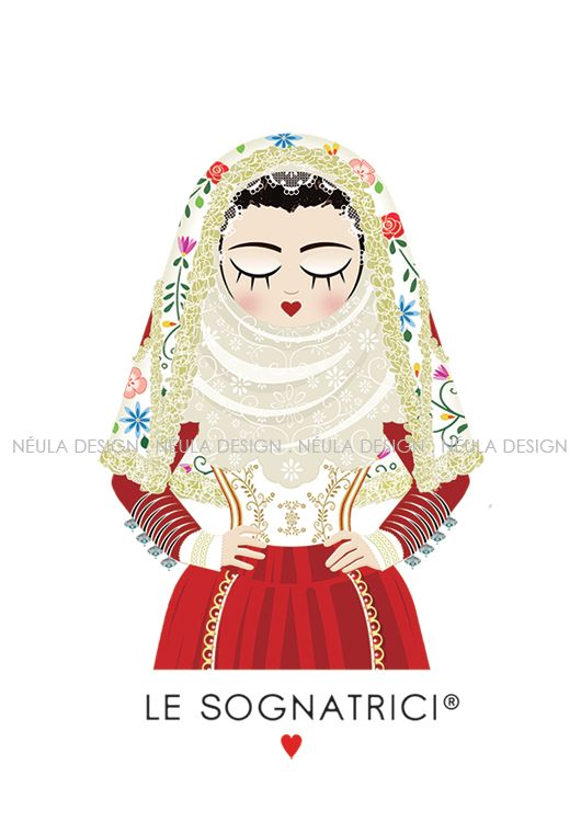 Le Sognatrici - Abito tradizionale Osilo - Traditional dress Sardinia - Illustration - design -