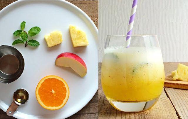 Z cyklu prosto i smacznie: ananasowo-pomarańczowy koktajl z miętą