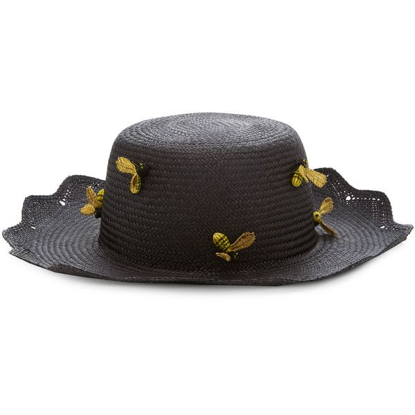 Mercedes Salazar Panal De Abejas Hat (5.061.875 VND) ❤ liked on Polyvore featuring accessories, hats, black, mercedes salazar, bee hat, bumble bee hat and bumblebee hat