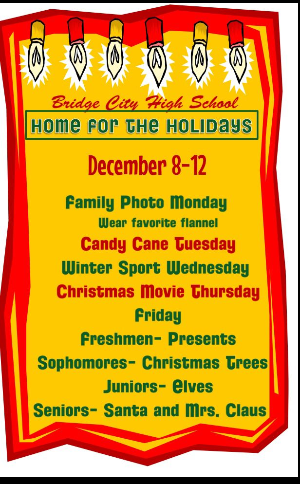 Winter Spirit Week Quot Home For The Holidays Quot Spirit Ideas