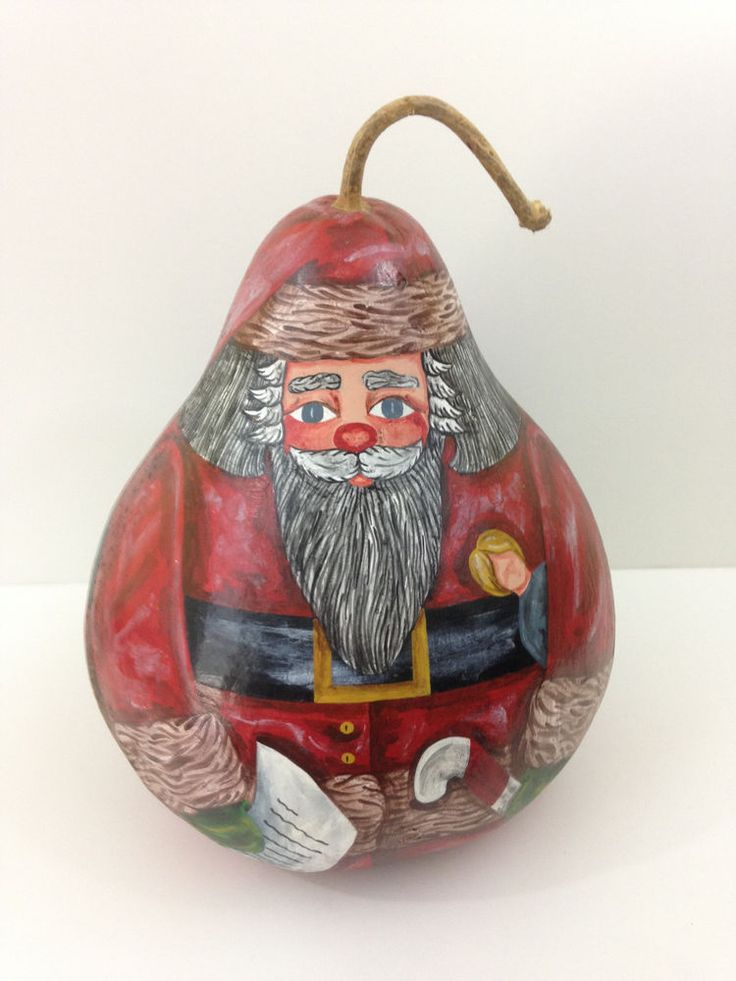 "Large 13 1/2""  Hand Painted Santa Gourd"