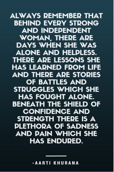 Always remember that behind every strong and independent woman, there are days when she was alone and helpless. #Quotes
