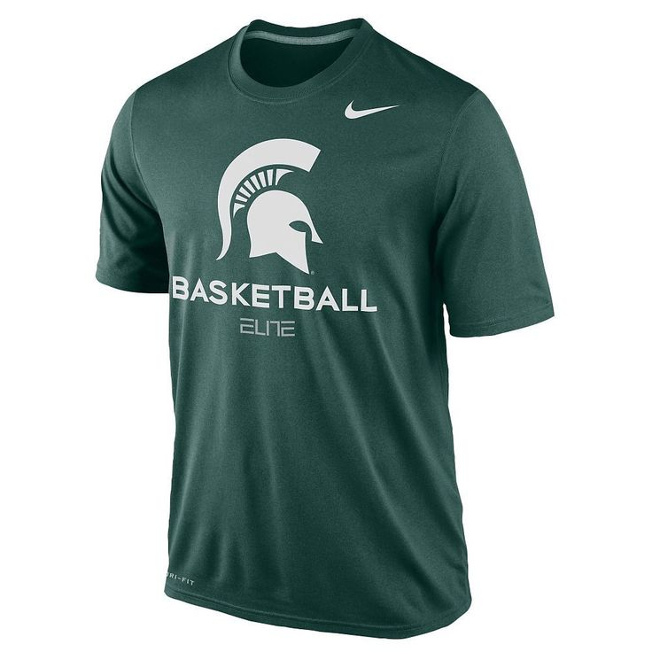 New NWT Michigan State Spartans Basketball Nike Elite Green Dri-Fit Medium T-Shirt