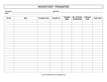 This printable inventory transfer log tracks items that are moved in and out of inventory. It is available in PDF, DOC, or XLS (spreadsheet) format. Free to download and print