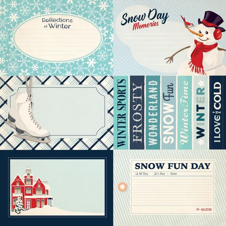 "Carta Bella Snow Fun Collection Scrapbook 4"" x 6"" Journaling Cards Double Sided 12"" x 12"" Cardstock Paper"