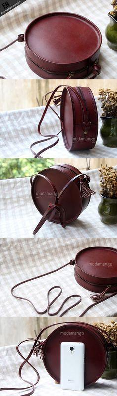 Handmade Leather bag round for women leather shoulder bag crossbody