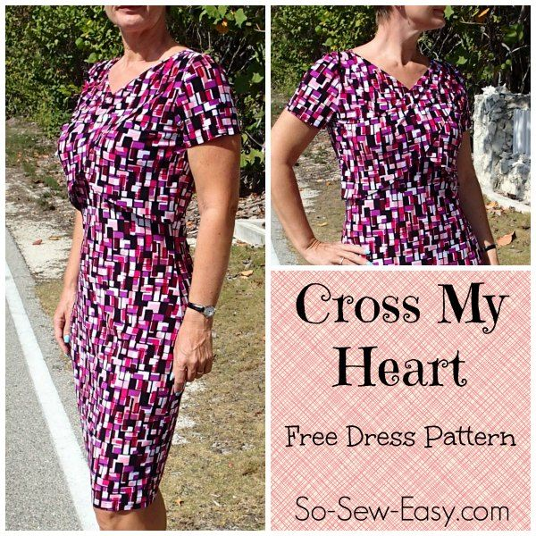 Enjoy this free easy dress pattern for the Cross My Heart Dress. A simple knit sheath dress with cross-over front drapes to give great shaping. Easy to sew