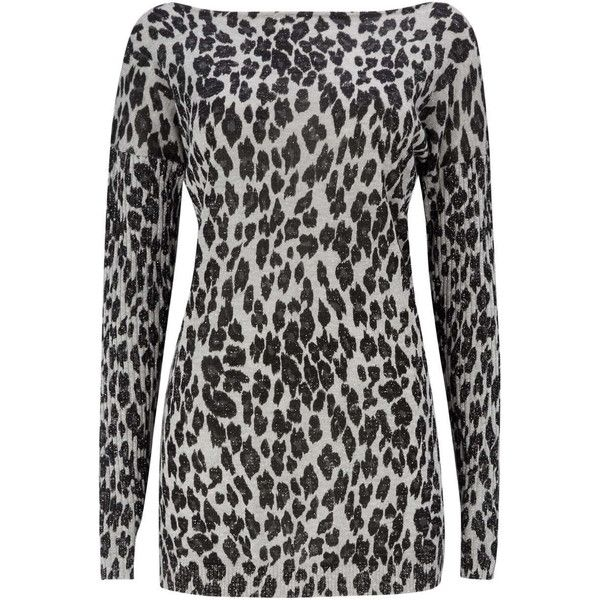 Wallis Petite Silver Animal Print Jumper ($49) ❤ liked on Polyvore featuring tops, sweaters, petite, silver, glitter tops, petite sweaters, silver sweater, glitter sweater and long sleeve tops