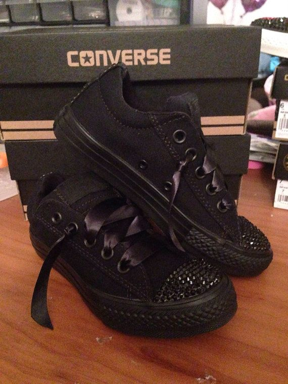 love the ribbon as laces!  All Black Low  Bling Converse by Munchkenzz on Etsy