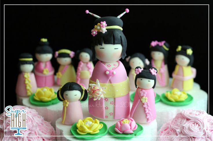 Fondant Kokeshi and Geisha Cake & Cupcake Toppers by Sugar High, Inc.