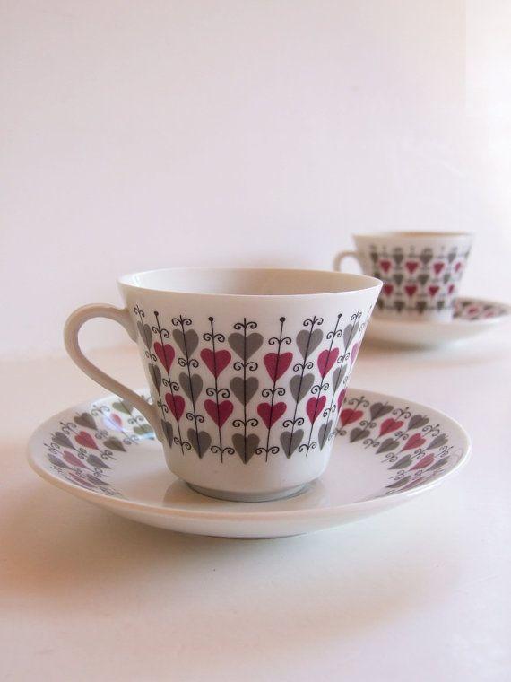 Vintage Rörstrand Hjärta// Dos tazas de café años por tiendanordica, $76.00