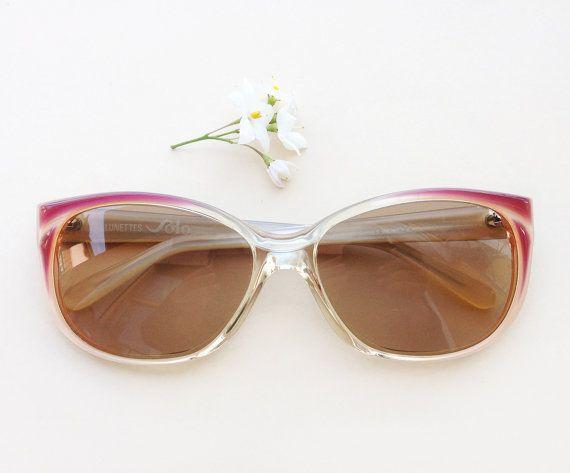 80's sunglasses SOLO / Vintage women's pink dead stock eyeglasses / summer French sunglasses / 80s nos designer Eyewear / hipster eyeglass by Skomoroki ON ETSY