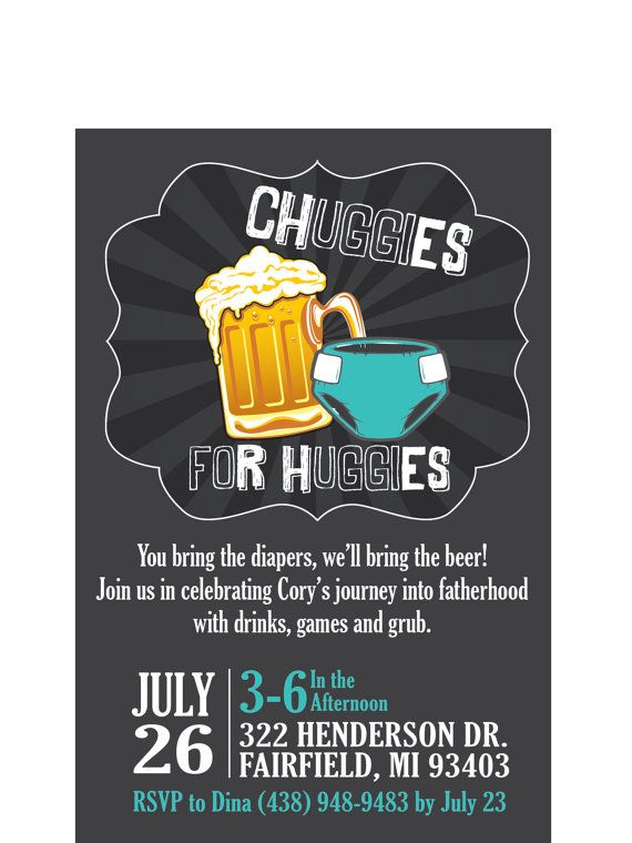 Chuggies for Huggies Customizable Diaper Party Invitation by BohemianBungalow1986, $13.00. Perfect party for new fathers